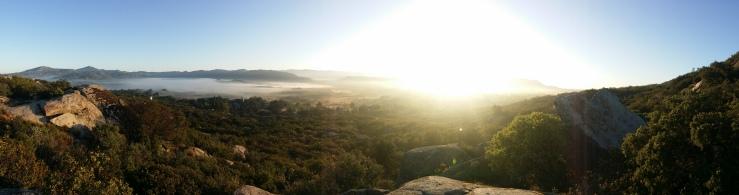 The sunrise was burning the morning fog away