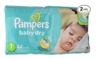 A PIN pampers baby dry newborn diapers size 1 - 44 count x 2
