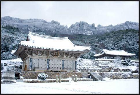 zen buddhism korean temple snow winter cold white