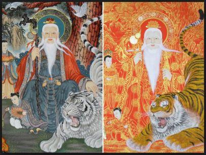 zen korean mountain god art