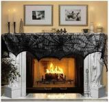 A PIN Halloween decoration black lace spiderweb fireplace mantle scarf cover