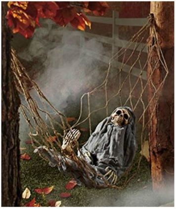 A PIN interactive skeleton in hammock spooky halloween decoration sound activated