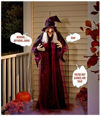 A PIN life size hanging animated talking witch halloween