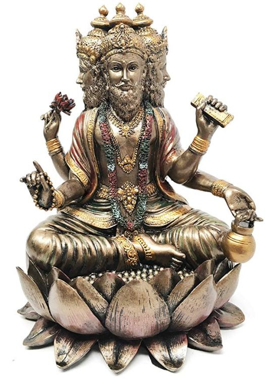 01 Ebros Supreme Cosmic Soul Hindu Deity Brahma Statue Brahman Four Faced Vedas Trinity Being Figurine Sitting On Lotus Throne
