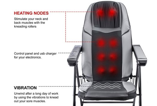 13 Adjustable Folding Shiatsu Massage Chair a