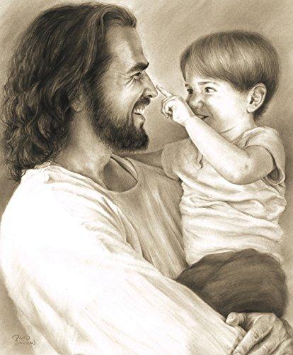 Innocence Wall Art Print Jesus Christ Holding Child by David Bowman Religious Spiritual Christian Fine Art .jpg