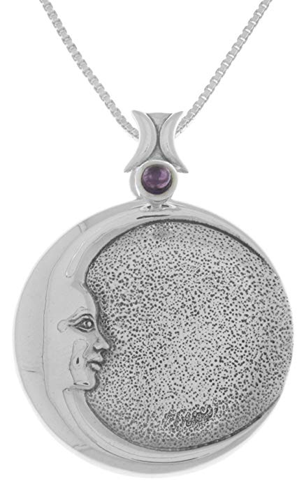 Jewelry Sterling Silver Goddess Crescent Moon Eclipse Pendant Amethyst Necklace