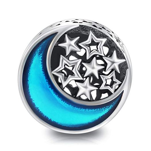 LONAGO Moment of the Life Charms 925 Sterling Silver Bead Charms (Moon and star)