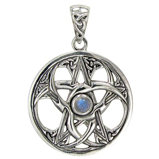 Sterling Silver Triple Moon Pentacle Pendant with Rainbow Moonstone .jpg