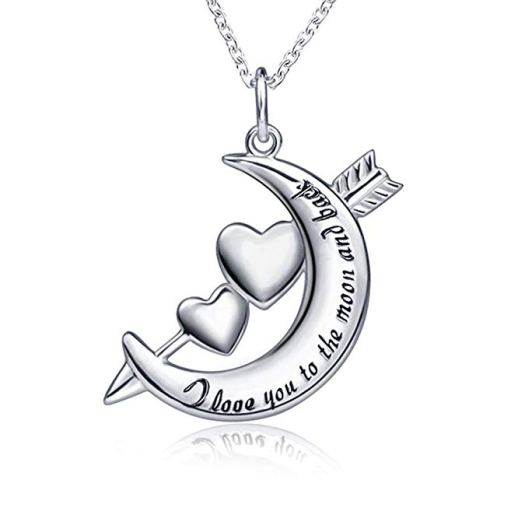 YG 925 Sterling Silver Charm Moon Cupid Arrows Double Love Hearts Pendant Necklace for Women .jpg